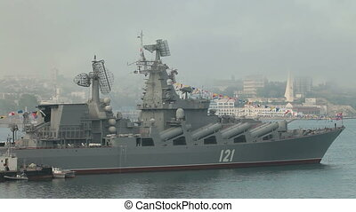 Moored missile cruiser Moscow. Celebration of the 230th...