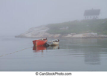 Row Boats in Peggy's Cove - Moored Row Boats in Peggy's Cove