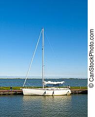 Moored Sailboat in the pier of Marken, Netherlands