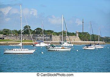 Moored sailboats on the Matanzas River at historic St. Augustine, Florida, USA.