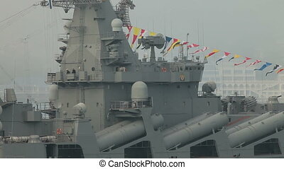 Moored Warship - Moored missile cruiser Moscow in Sevastopol