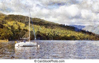 Moored yacht on lake windermere