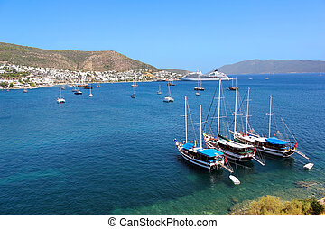 Moored yachts, Bodrum, Turkey