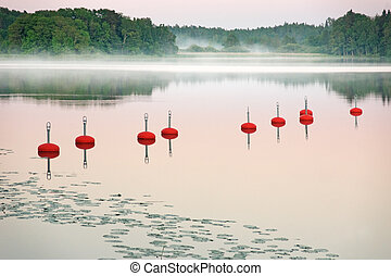 Mooring bouys - A row of mooring bouys in a harbour on a ...