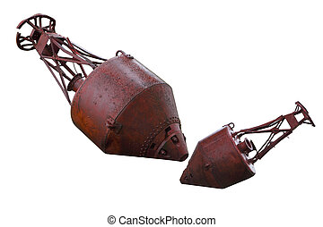 Mooring Buoys - Old rusty mooring buoys isolated on white ...