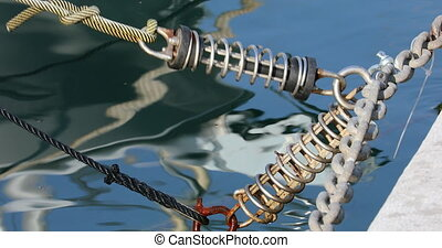 Mooring Chains Moving With The Movement of The Yacht on The Sea
