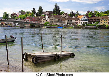 Mooring for boats on the river Rhine. Stein Am Rhein. Switzerland. Europe