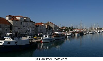 Mooring for yachts near the old town of Trogir, Croatia.