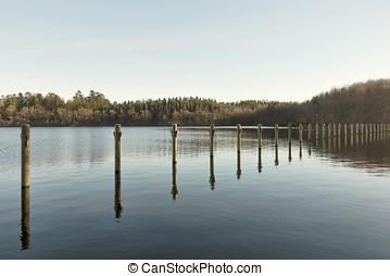Mooring Poles in a lake