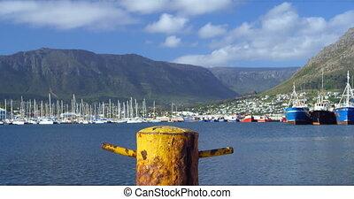 Mooring post at the harbour 4k - Close-up of mooring post at...
