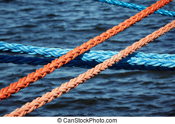 Mooring ropes securing ships - Strong and thick mooring...