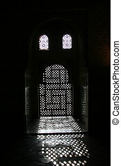 Moorish door in Alhambra - arched doors at Alhambra palace...
