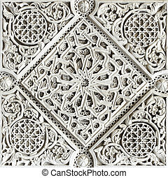 Moorish stone carving - Old moorish stone carving close-up, ...