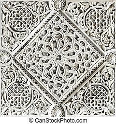 Moorish stone carving - Old moorish stone carving close-up,...