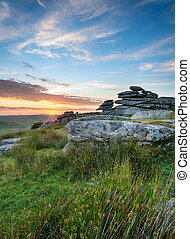 Moorland Sunset - Sunset at the Cheeswring a granite tor on ...