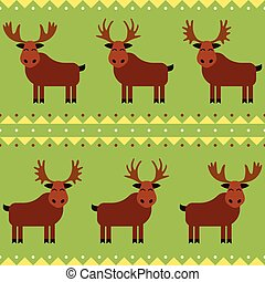 Moose and elk seamless pattern with different horns