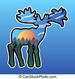 Moose and nature double exposure illustration