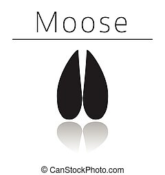 Moose animal track with name and reflection on white ...
