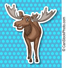 Moose - Brown moose smiling with blue background