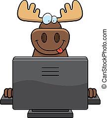 Moose Computer - A happy cartoon moose with a computer.