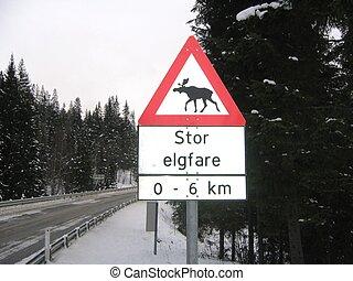 Moose danger sign