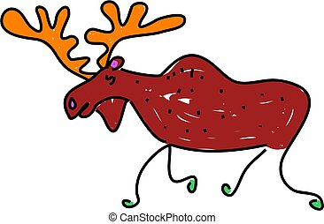 moose - a moose isolated on white drawn in toddler art style
