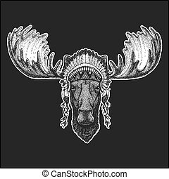 Moose, elk Cool animal wearing native american indian headdress with feathers Boho chic style Hand drawn image for tattoo, emblem, badge, logo, patch