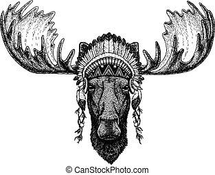 Moose, elk Wild animal wearing inidan headdress with...