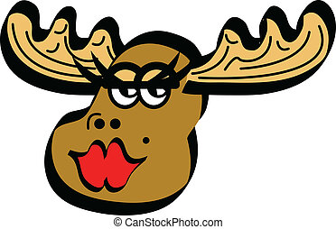 Moose Female Cartoon - Moose female cartoon smiling and...
