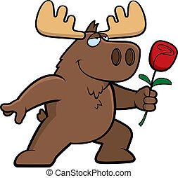 Moose Flower - A happy cartoon moose with a flower.
