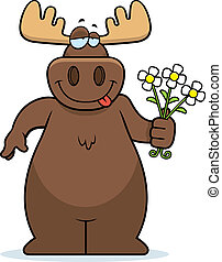 Moose Flowers - A happy cartoon moose with a bouquet of...
