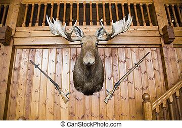 Moose head and guns on wall - Scandinavian wooden cabin wall...