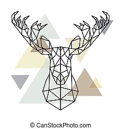 Moose head, geometric lines silhouette isolated on scandinavian background.