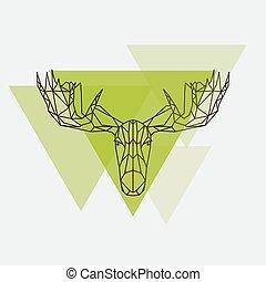 Moose head geometric lines silhouette