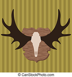 Moose head horns hunting trophy illustration background...