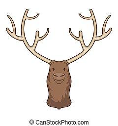 Moose head icon, cartoon style