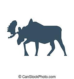 Moose Icon on white background.