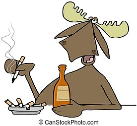 Moose in a bar - Illustration of a bull moose sitting at a...