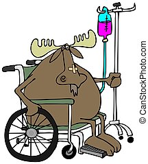 Moose in a wheelchair - This illustration depicts a moose...