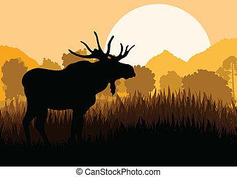 Moose in wild nature landscape background illustration...