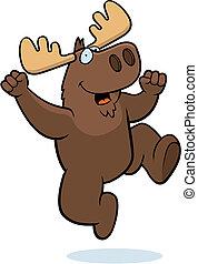 Moose Jumping - A happy cartoon moose jumping and smiling.