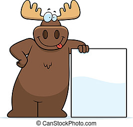 A happy cartoon moose leaning against a sign.