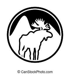 Moose logo. Deer emblem. Animal with horns. Wild animal