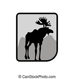 Moose logo. Deer emblem. Animal with horns. Wild animal