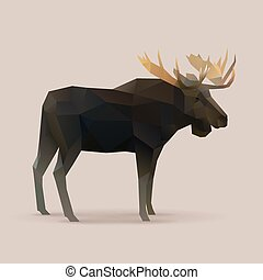 moose male Polygon vector illustration