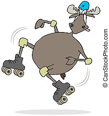 Moose on skates - Illustration depicting a bull moose...