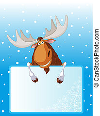 Funny moose holding place card for your winter greetings
