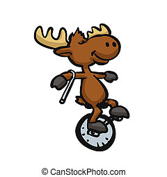 Moose riding a monocycle Ilustra??o