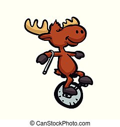 Moose riding a monocycle .Vector illustration