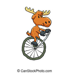 Moose riding a vintage monocycle Ilustra??o